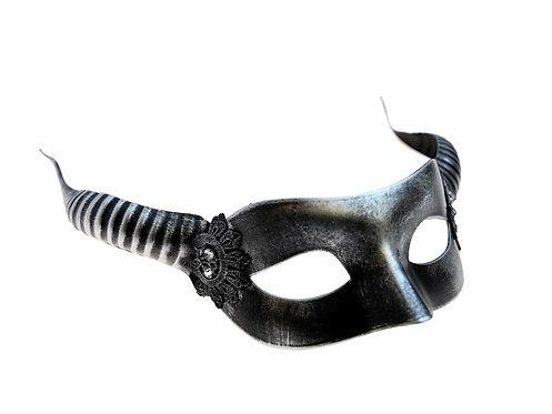 Metallic Silver Horned Devil Face Mask