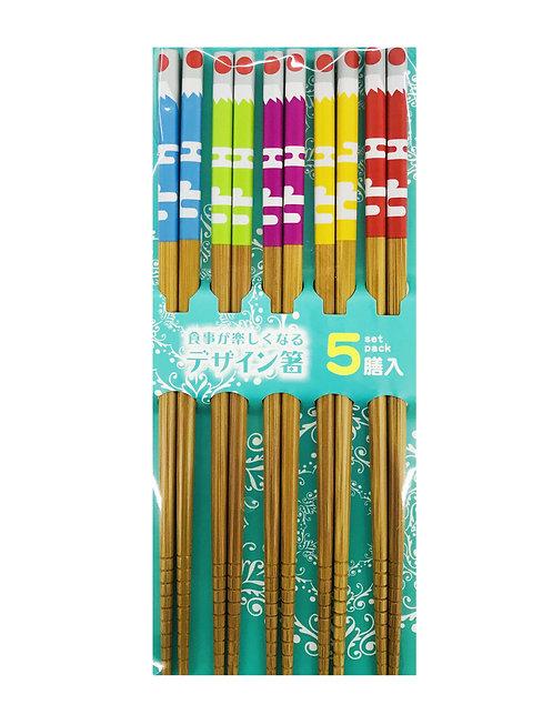 5PR Bamboo Chopsticks Multi-Color Mount Fuji