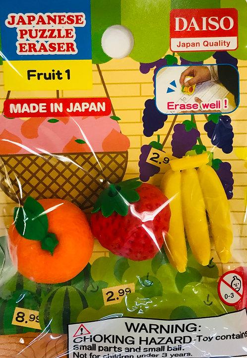 3pc Japanese Puzzle Eraser Fruit 1