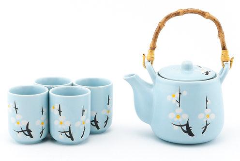 White Cherry Tea Set W/ Strainer & Wooden Handle