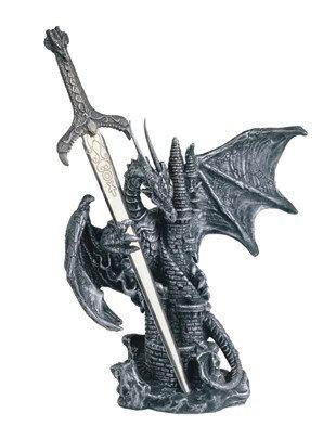 "5"", Silver Dragon W/ Castle & Sword"