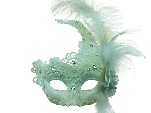 Masquerade Venetian Party Mask With Feather White