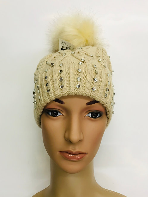 Knitting Winter Hat With Around Stone
