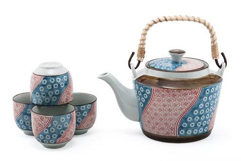 Pink & Blue Flower Tea Set W/ Strainer & Wooden Handle