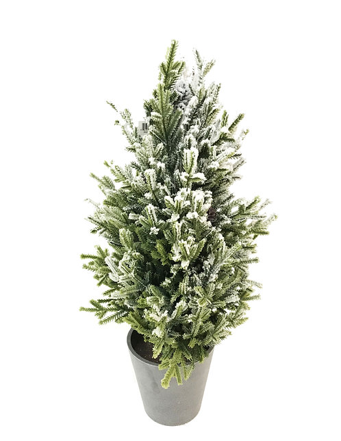 "22"" Snow Pencil Pine Tree Pot"