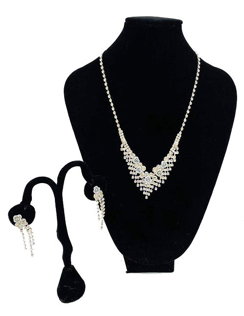 Necklace Set W/ Earrings Silver Small White Flowers No#39