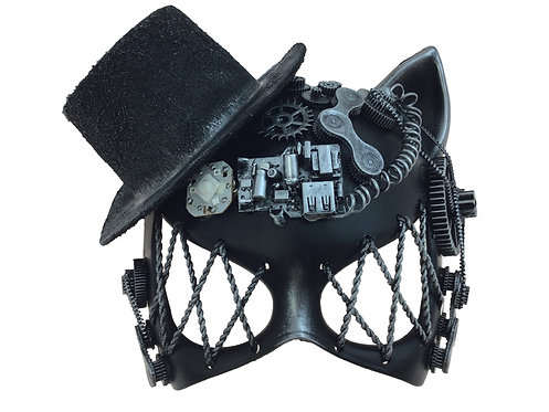 Silver Steampunk Cat Mask With Hat