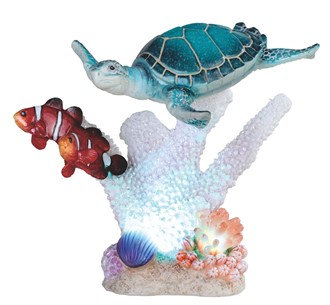 """Sea Turtle & Clownfish with LED , 7 1/2"""" wide"""