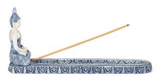 "10 1/4"" long, Blue/White Blue Buddha Incense Burner"