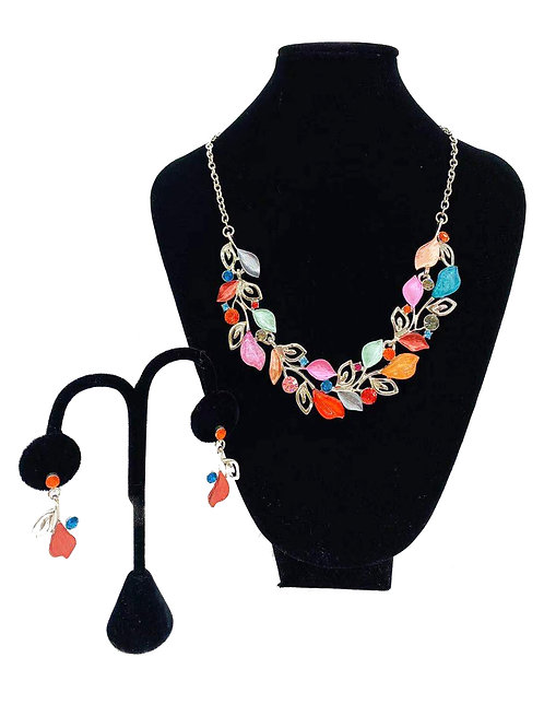 Necklace Set W/ Earrings Colorful Crystal Leaf No#68