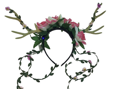 White Antler Headband With Pink Flower And Ribbon