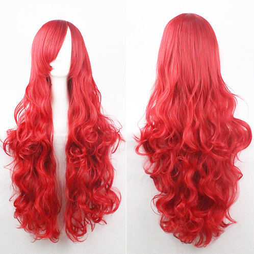 Red Curly Synthetic Long