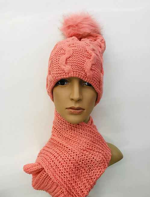 Knitting Winter Hat With Scarf Twist Line