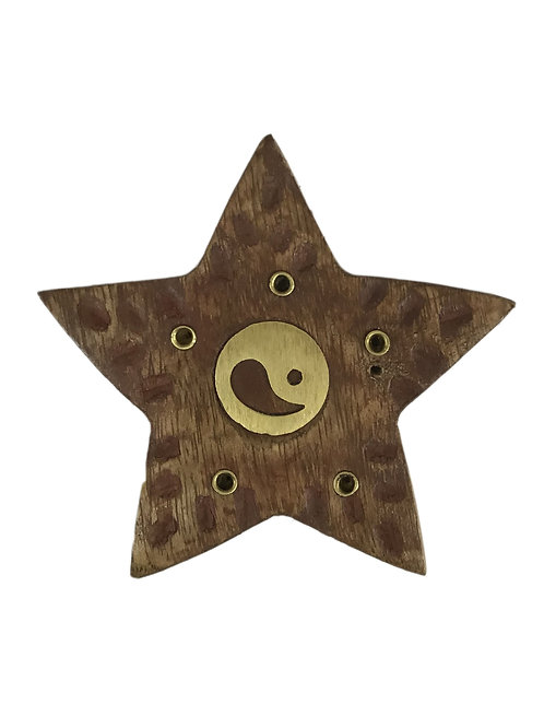 Wooden Incense Burner Star with Ying Yang Brass Inlaid.