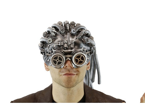 Silver Steampunk Mask With Compass Goggle