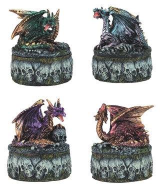 """3"""" Mini Dragon W/ Skull Trinket Box, 4 PC Set"""