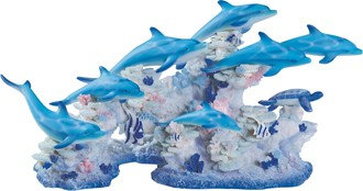 """Blue Dolphins with Coral, 16"""" wide"""