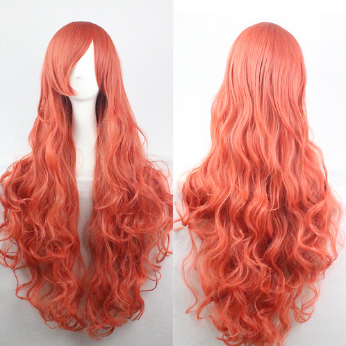Orange-Red Curly Synthetic Long