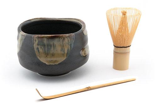 Black Matcha Bowl Set W/Bamboo Whisk & Spoon