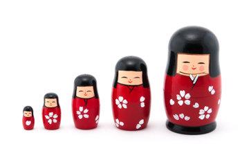 """4.25"""" , Kokeshi Matryoshka Dolls"""