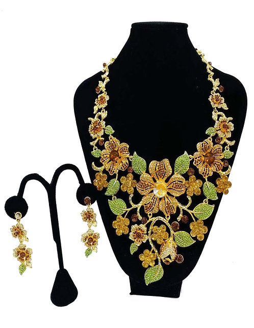 Necklace Set W/ Earrings Gold/Brown Flower No#70