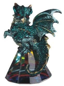 """3 1/2"""", Teal Dragon on Glass Crystal"""