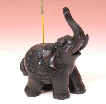 """3.25"""" Resin Incense Burner Elephant"""