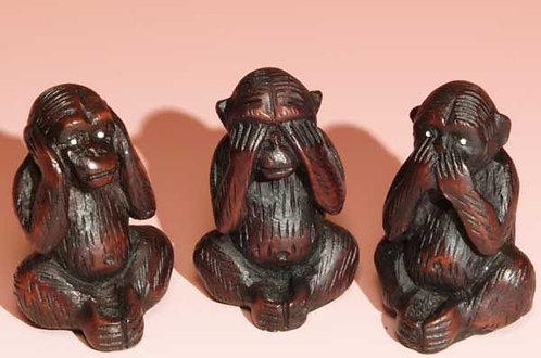 """2.5"""" Resin Incense Burner No-Evil Monkeys"""
