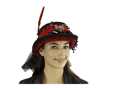 Steampunk Red Hat With Goggle