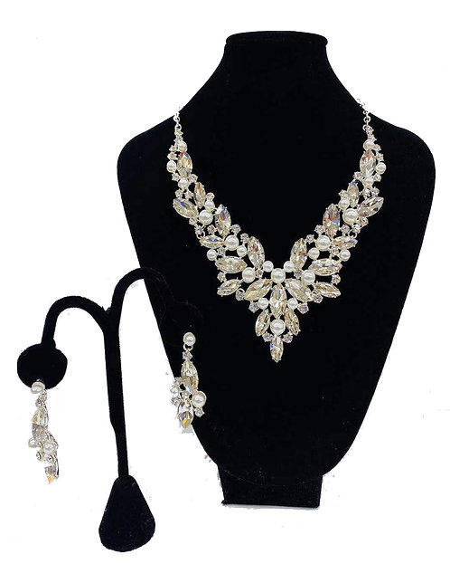Necklace Set W/ Earrings Silver Pearl Crystal No#53