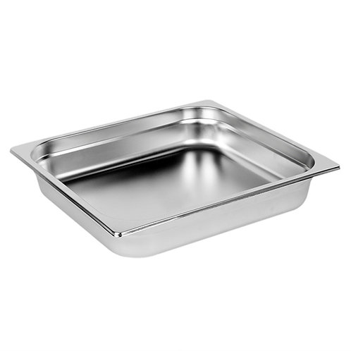 "2/3 Size, 1/2"" Deep, 24 Gauge, Anti Jam Steam Pans"