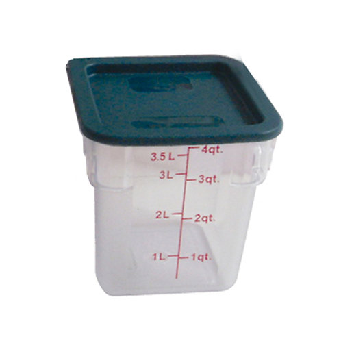 4QT Polycarbonate Square Food Storage Containers, Clear