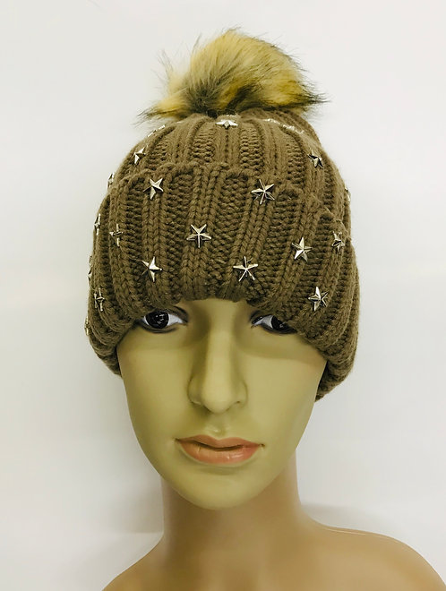 Knitting Winter Hat With Stars On The Side