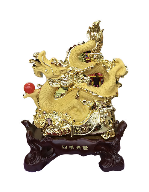 """13"""" High Golden Dragon With Red Ball"""