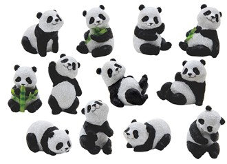 "2 1/4"", Miniature Panda 12 PC Set"