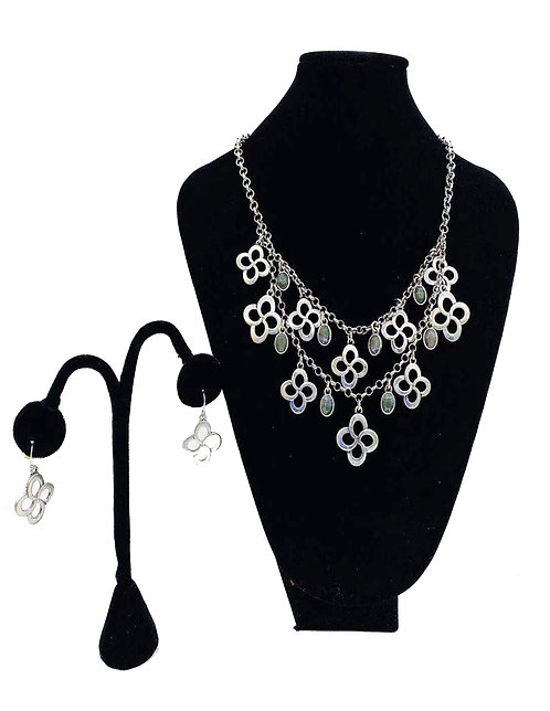 Necklace Set W/ Earrings Silver Circle Flower No#7