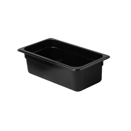 "Third Size 4"" , Deep Polycarbonate Food Pan, Black"