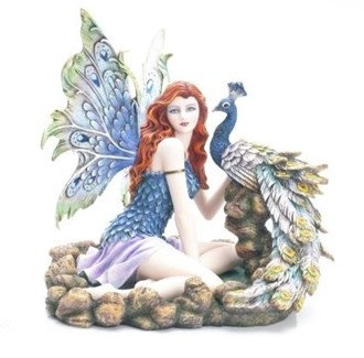 """Fairy with Peacock , 13 1/4"""" wide"""