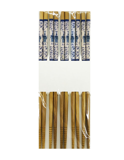 5PR Bamboo Chopsticks Blue/White Chinese Vase and Flowers