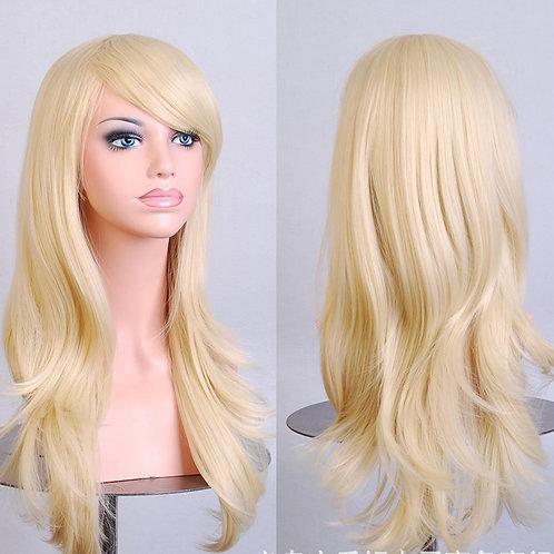 Blonde Light Curly Wig Synthetic Medium