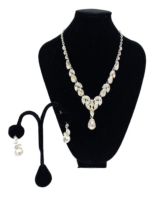 Necklace Set W/ Earrings Silver Crystal No#45
