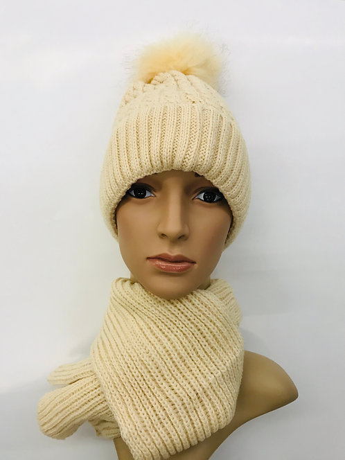 Knitting Winter Hat With Scarf Classic 1