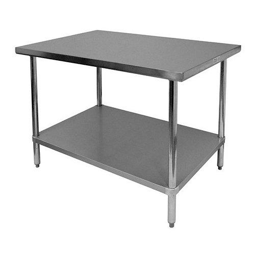 "24"" X 24"" X 35"", 430 Stainless Steel Worktable, Flat Top"