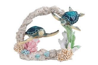 "Blue Sea Turtle Couple , 9"" wide"