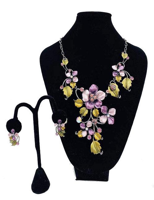 Necklace Set W/ Earrings Pink Flower No#56