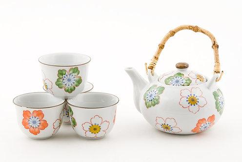 Flower Tea Set W/ Strainer & Wooden Handle