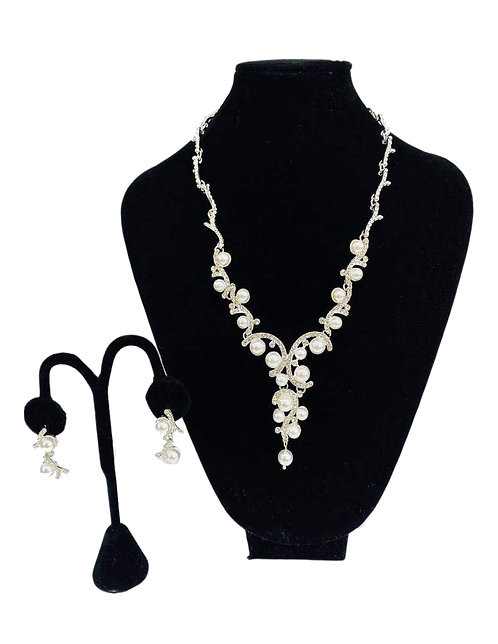 Necklace Set W/ Earrings Pearl Golden No#5