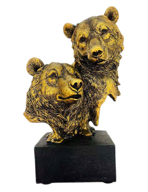 "9.24"" Bronze Bear Head Figure"