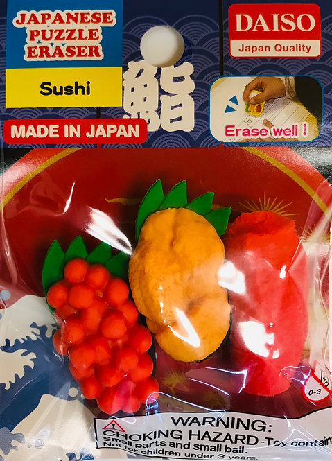 3pc Japanese Puzzle Eraser Sushi