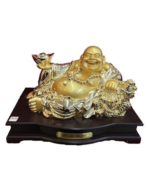 "20"" Golden Laying Happy Buddha"